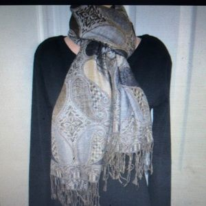 Accessories - Beautiful Multi Color & Gray Paisley Fringe Scarf